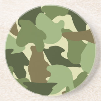Camo / Camouflage Print in Greens, Khaki and Brown Drink Coaster