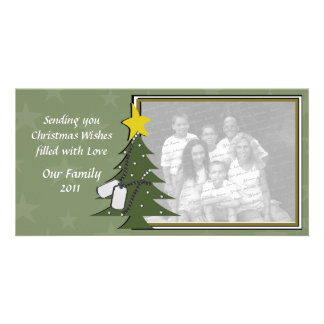 Camo Christmas Dogtags and Tree Customized Photo Card