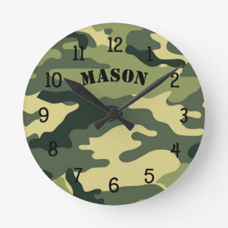 Camo Clock with name,  boy bedroom nursery CAMO