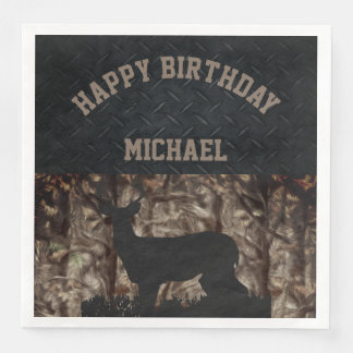 Camo Country Hunting Birthday Napkins Disposable Napkins