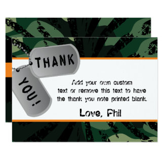 Camo, Dart Wars, Thank You Cards 9 Cm X 13 Cm Invitation Card