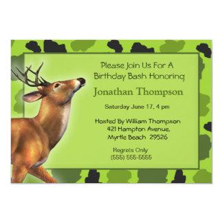 Camo Deer Birthday Invitation