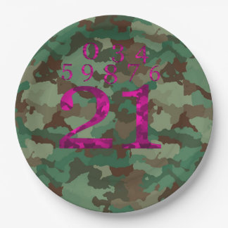 Camo - DELETE THE NUMBERS YOU DON'T NEED 9 Inch Paper Plate