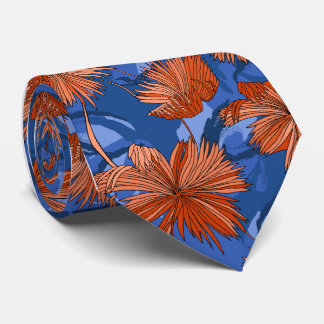 Camo Flowers Floral Blue Single-side Printed Tie
