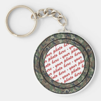 Camo Forest / Woodland Circle Photo Frame Template Basic Round Button Key Ring