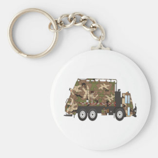 Camo Garbage Truck Military Basic Round Button Key Ring