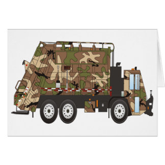 Camo Garbage Truck Military Card