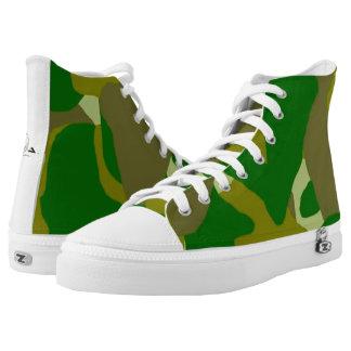Camo Green Dark Hi-Top Tennis Shoes Printed Shoes