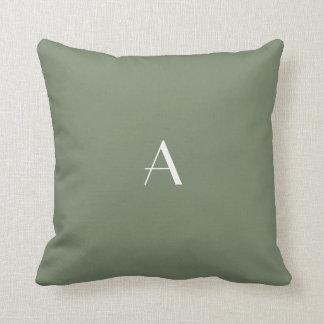 Camo Green Earth Tone Pillow w White Monogram