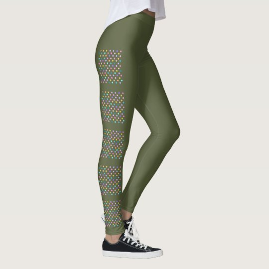 Camo green leggings with cute rainbow polka dots