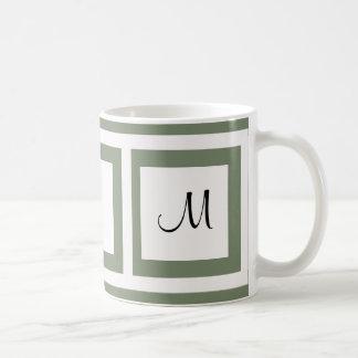 Camo Green Monogram Basic White Mug