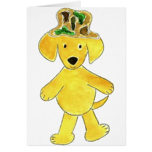 Camo Hat Yellow Lab Greeting Cards