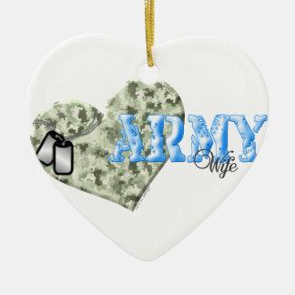 CAMO HEART ARMY WIFE CERAMIC HEART DECORATION