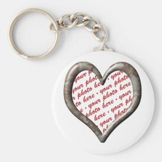 Camo Heart - Desert - Template Photo Frame Basic Round Button Key Ring
