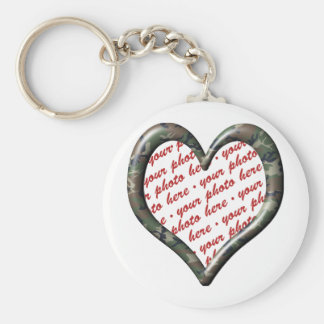 Camo Heart - Forest - Template Photo Frame Basic Round Button Key Ring