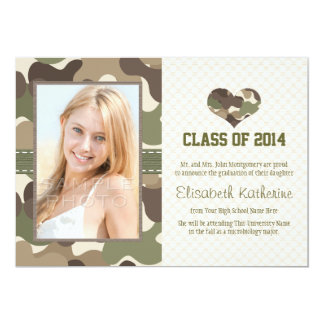 CAMO HEART GRADUATION PHOTO ANNOUNCEMENT INVITE