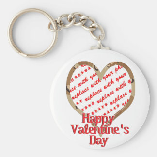 Camo Heart Valentine's Day Photo Frame Basic Round Button Key Ring