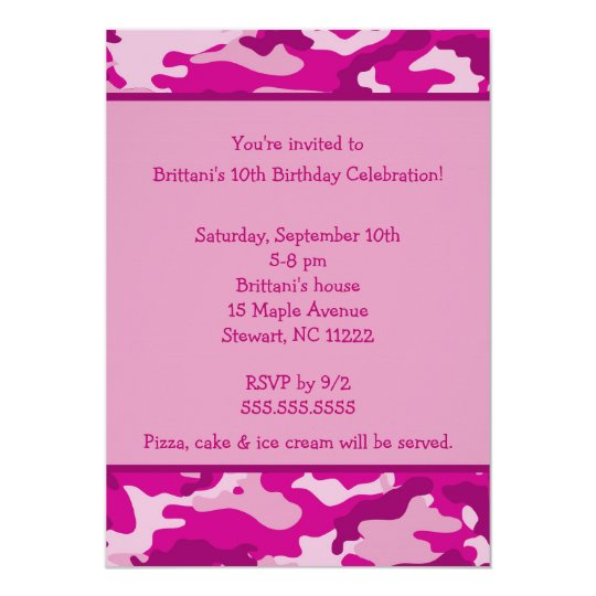Camo Hot Pink Birthday party invitation