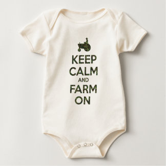 Camo Keep Calm and Farm On Baby Bodysuit