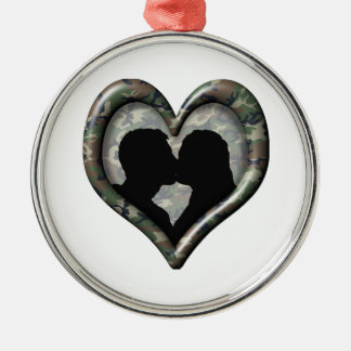 Camo Kissing Couple Heart Silver-Colored Round Decoration
