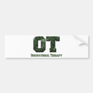 camo letters dark green bumper sticker