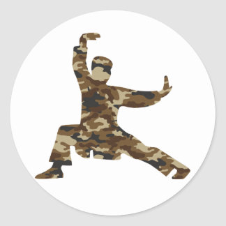 Camo Martial Arts Man Silhouette Round Sticker
