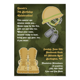 Camo Military Birthday Flat Invitation
