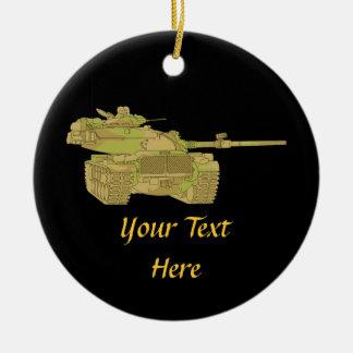 Camo Military Tank Design Round Ceramic Decoration
