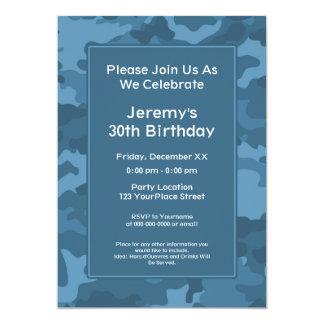 Camo Military Theme Birthday Party 13 Cm X 18 Cm Invitation Card