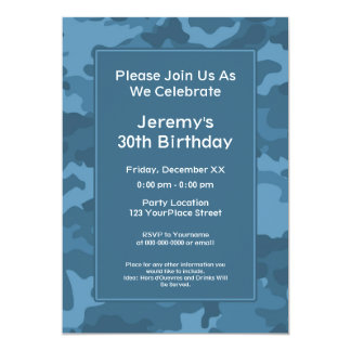 Camo Military Theme Birthday Party Card