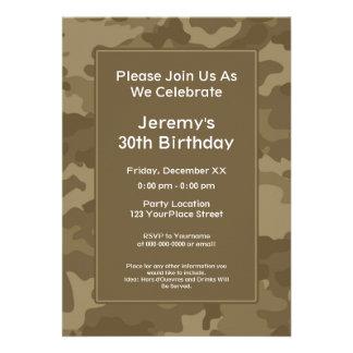 Camo Military Theme Birthday Party Custom Invitation