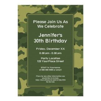 Camo Military Theme Birthday Party Invites