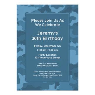 Camo Military Theme Birthday Party Custom Invites