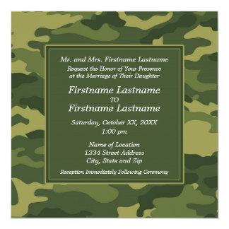 """Camo Military Wedding Invitation 5.25"""" Square Invitation Card"""