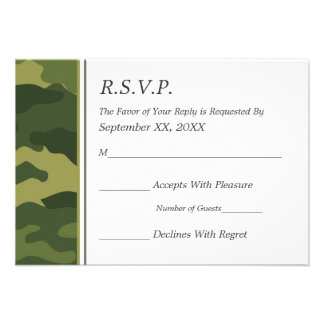 Camo Military Wedding RSVP Announcement