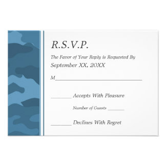Camo Military Wedding RSVP Announcements