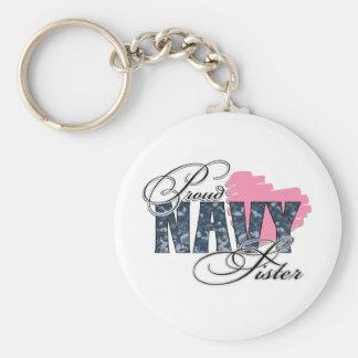Camo Navy Sister Basic Round Button Key Ring