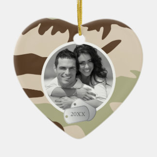 Camo Pattern and Dog Tags Photo Christmas Ornament