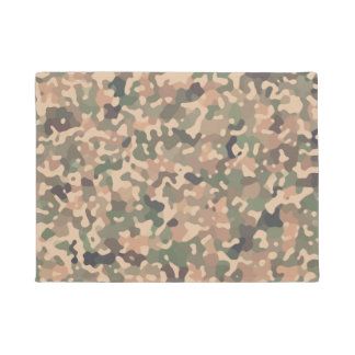 Camo Pattern - Green Orange Brown Black Doormat