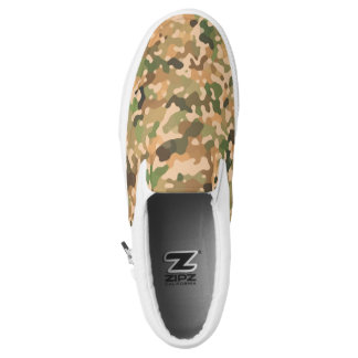 Camo Pattern - Green Orange Brown Black Slip-On Shoes