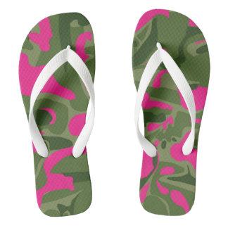 Camo pink flip flops