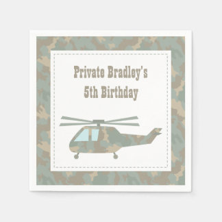 Camo Print Helicopter Army Boys Birthday Party Paper Napkins
