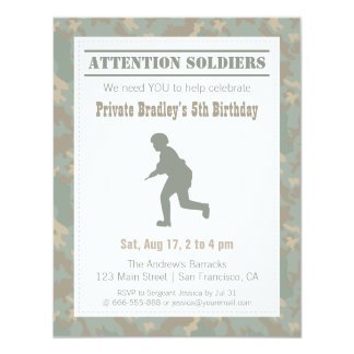 Camo Print Soldier Silhouette Army Birthday Party 11 Cm X 14 Cm Invitation Card