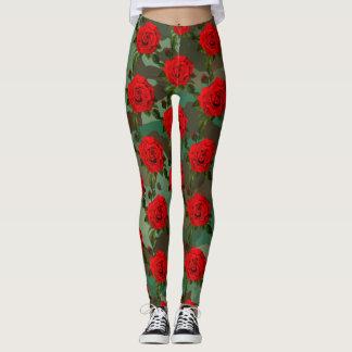 Camo Red Rose Print Leggings