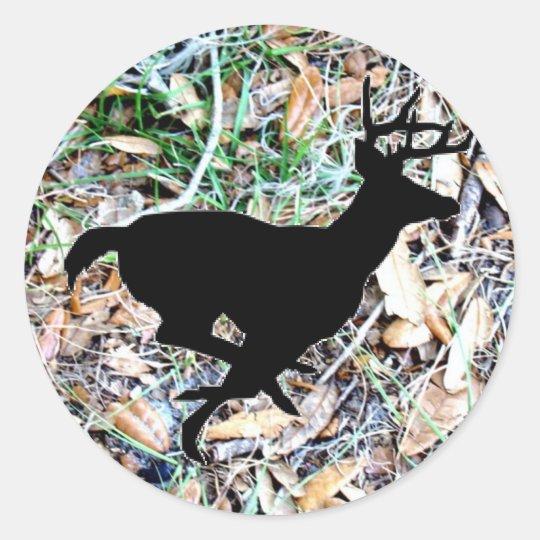 camo running buck classic round sticker