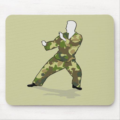 Camo Soldier In Black Green Khaki Mousepad