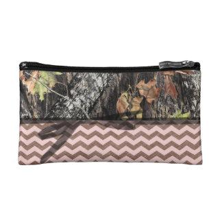 Camo W/ Pink and Brown Chevron Make Up Bag Cosmetics Bags