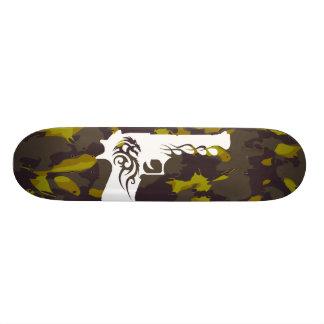 camo, white gun 1 skate board
