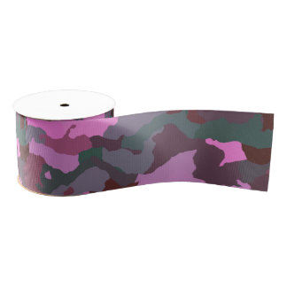 Camo with Pink Grosgrain Ribbon