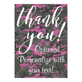 Camo with Pink - Thank You Card